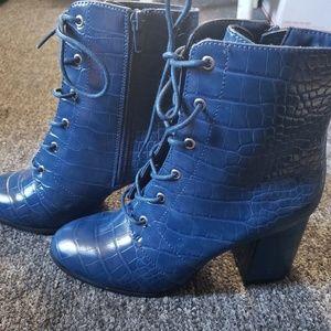 Blue Patent Croc Booties